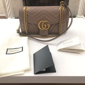 Gucci marmont medium dusty rose pink leather bag